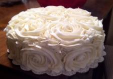 White Vintage Rose Cake